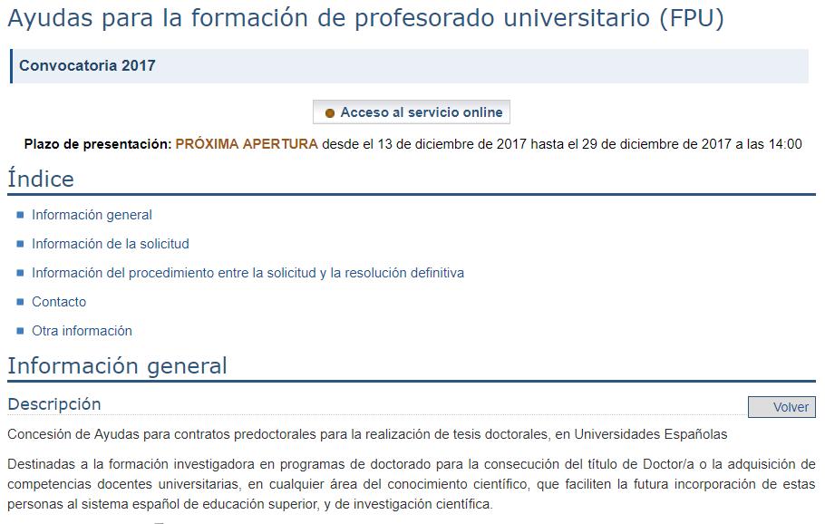 Ayudas para la formación de profesorado universitario (FPU)
